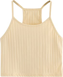 b19efa89845 SheIn Women s Summer Basic Sexy Strappy Sleeveless Racerback Crop Top