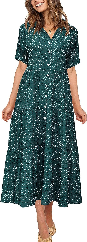 PeoKia Casual Super Special SALE held Weekly update Boho Long Dress for Polk Short Sleeve Women Summer