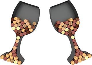 Wine Glass Cork Holder Art Wall Décor ~ Metal ~ Set of 2 ~ Gifts for Wine Lovers ~ by HouseVines