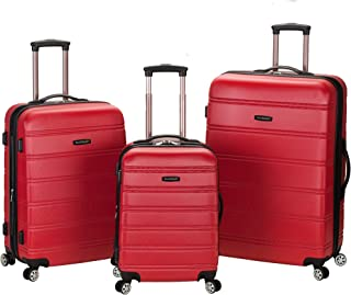 Rockland Melbourne 3 Pc Abs Luggage Set, Red