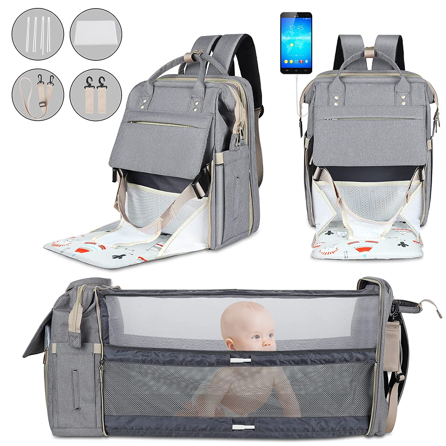 10 in 1 Diaper Bag Backpack with Changing Station, Foldable Crib & Portable Feeding Chair, Baby Registry Search Shower Gifts, Travel Multifunction Large Capacity Bag Bag for Girls and Boys(Grey)
