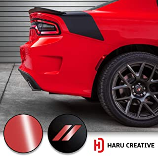 Haru Creative - Stripe Hash Rhombus Wheel Center Cap Overlay Vinyl Decal Sticker Compatible with and Fits Dodge Charger and Challenger 2017 2018 (no Wheel caps Included) - Gloss Red