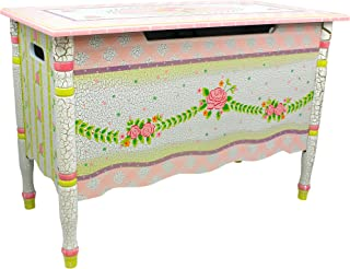 Fantasy Fields - Crackled Rose Thematic Kids Wooden Toy Chest with Safety Hinges | Imagination Inspiring Hand Crafted & Hand Painted Details Non-Toxic, Lead Free Water-based Paint