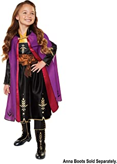 Disney Frozen 2 Anna Adventure Dress Girls Costume with Rich Violet Travel Cape, Featuring Intricate Belt Design & Artistic Dress Trim - Fits Sizes 4-6X, For Ages 3+