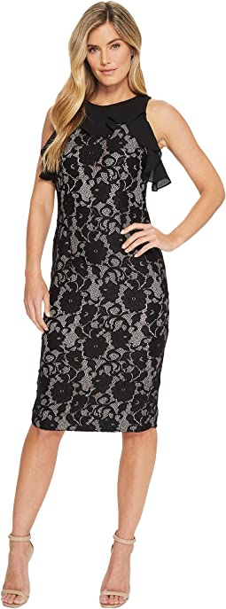 Ivanka Trump - Sleeveless Lace Midi w/ Georgette Ruffle