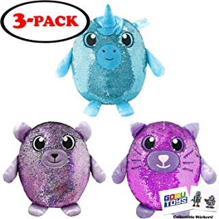 Shimmeez Large 14 inch (3 Pack) Unicorn, Bear, Cat with 2 GosuToys Stickers