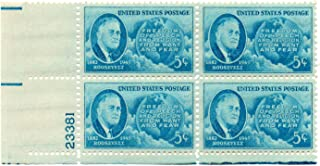 USA Postage Stamp Plate Block 1946 Roosevelt Globe And Four Freedoms Issue 5 Cent Scott #933