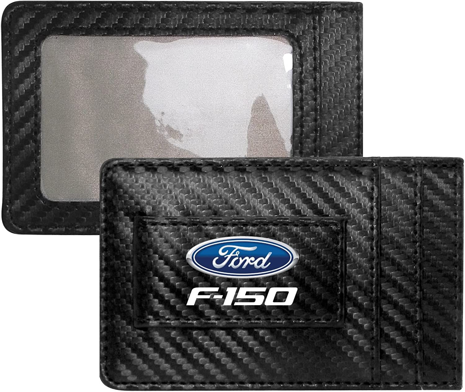 Ford F-150 Carbon Fiber Style Minimalist Leather Slim Wallet RFID Block with Money Clip