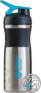 BlenderBottle SportMixer Stainless Steel Shaker Bottle, 28-ounce, Black/Aqua