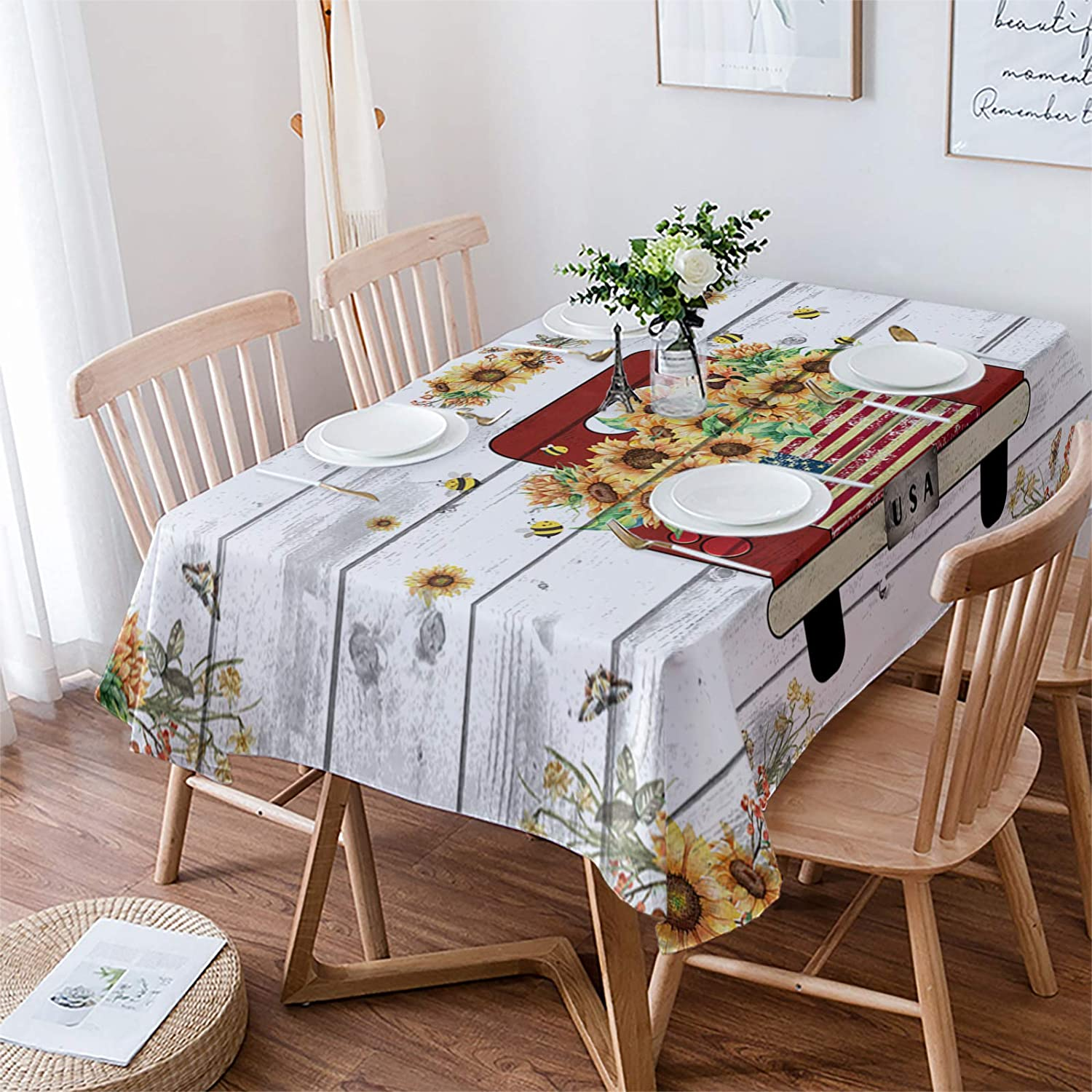 Yun Cash special price Nist Genuine Free Shipping Tablecloths for Rectangle Sunflower Truc Farm Bee Table