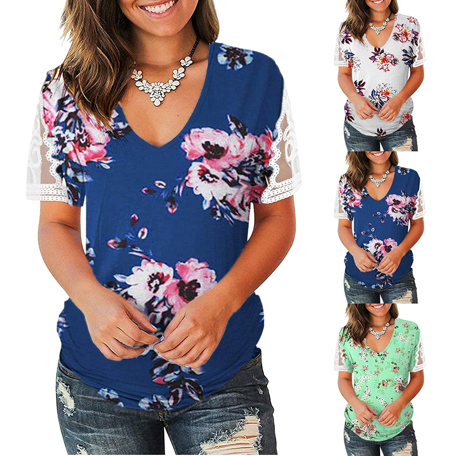 Womens Floral Tops Lace Short Sleeve V Neck Tee T Shirt Printed Casual Loose Basic Shirts Tops Blouses