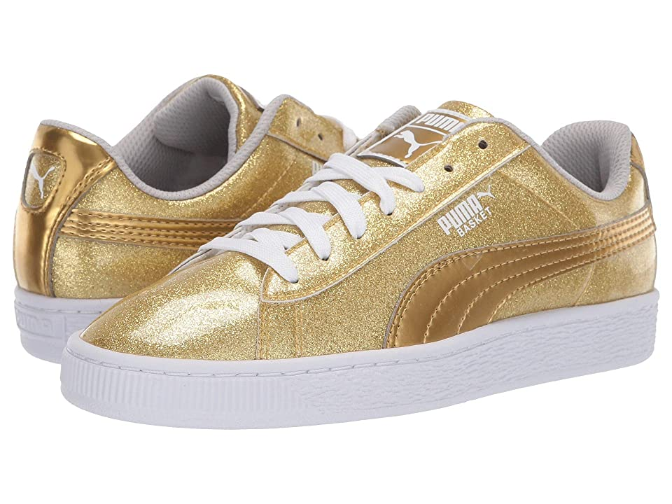 Puma Kids Basket Metallic Slip-On (Big Kid) (Puma Team Gold/Gray Violet/Puma White) Kids Shoes