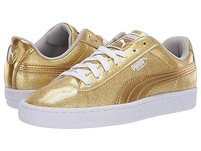 Puma Kids Basket Metallic Slip-On (Big Kid) (Puma Team Gold/Gray Violet/Puma White) Kids Shoes