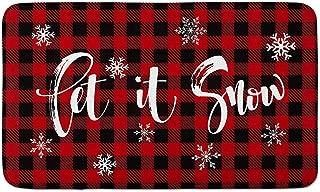 AVOIN Buffalo Plaid Let it Snow Decorative Doormat, 18 x 30 Inch Winter Christmas Holiday Non-Skid Floor Mat Switch Mat Indoor Outdoor Home Garden