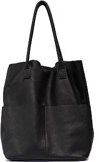Women's Shoulder Bag STEPHIECATH Genuine Leather Large Casual Soft Real Leather Skin Tote Vintage Snap Basket Carry Bag