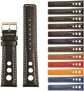 StrapsCo GT Rally Holes Racing Leather Watch Band - Quick Release Strap - 18mm 20mm 22mm 24mm