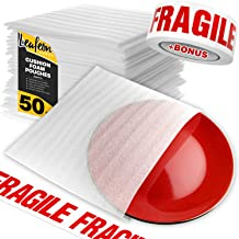 """12"""" x 12"""" Foam Wrap Pouches for Packing Shipping and Moving Supplies - Foam Pouches are Great Alternative to Bubble Cushioning Wrap Moving Paper & Bubble Envelopes - Good with Moving Boxes - 50 Pack"""
