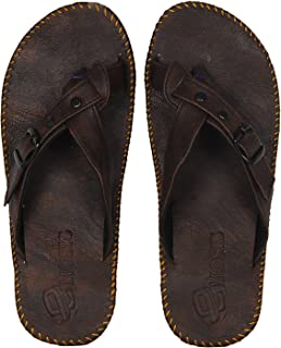 Emosis Men's Slipper Cum Sandal - Latest & Stylish Synthetic Leather - for Outdoor Formal Office Casual Ethnic Daily Use - Available in Tan Brown Black Beige White Blue Color - 0136M