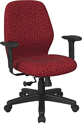 Office Star Ergonomic Mid Back Office Desk Chair with 2-to-1 Synchro Tilt Control and Adjustable Soft Padded Arms, Fine Tune Ruby Fabric