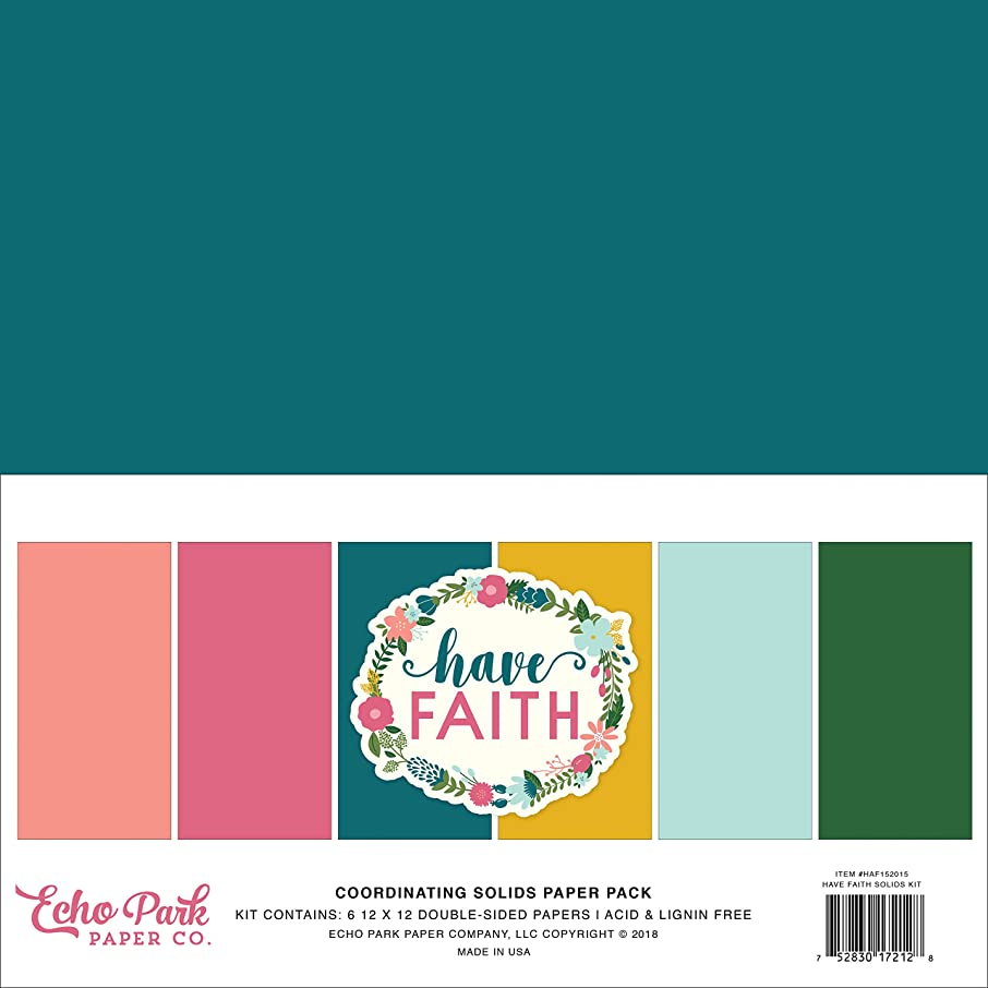 Echo Park Paper Company HAF152015 Have Have Faith Solids Kit, Purple, Pink, Mint Green, Teal, Coral