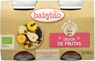 Babybio Delicia Frutas - Paquete de 2 x 130 gr - Total: 260 gr