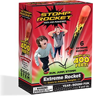 Stomp Rocket Extreme Rocket 6 Rockets - Outdoor Rocket Toy Gift for Boys and Girls- Comes with Toy Rocket Launcher - Ages 9 Years Up