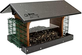 product image for DutchCrafters Amish Deluxe Recycled Plastic Bird Feeder (Black & Cedar, Mount Style - Hanging)