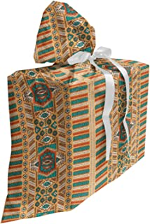 """Ambesonne Tribal Fabric Gift Bag, Secret Tribe Pattern in Bohemian Style, Present Sack for Baby Showers Birthdays with 3 Ribbons, 27"""" X 32"""", Apricot Orange and Teal"""