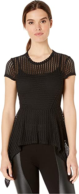 Asymmetrical Stretch Mesh Knit Top