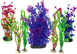 Plantas acuáticas artificiales, PietyPet 7 piezas Plantas grandes de acuario Decoraciones plásticas del tanque de peces, Planta de simulación viva Criatura Acuario Paisaje morado