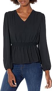 Amazon Brand - Lark & Ro Women's Georgette Blouson Long Sleeve V-Neck Smocked Waist Peplum Blouse