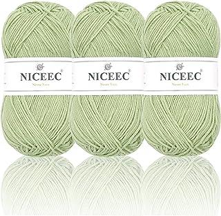 NICEEC 3 Skeins Soft Cotton Yarn 5ply Baby Yarn for Knitting Crochet Total Length 3×220m(3×240 yds,100g×3)-Mint Green