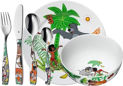 WMF Disney El Libro de la Selva - Vajilla para niños 6 piezas, incluye plato, cuenco y cubertería (tenedor, cuchillo ...