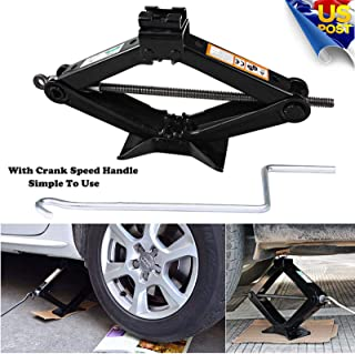 4,409lb Steel Scissor Jack Tire Repairing Leveling Tool Car Small RV Truck Trailer Portable Heavy Duty Stabilizer 2 Ton Lifting Capacity with Speed Handle MAX Extension 360mm Saving Strength Design