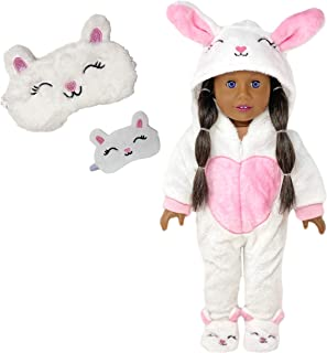 MY GENIUS DOLLS Clothes - Bunny Onesie Pajama with Matching Sleepover Masks - Clothes for 18 inch Dolls Like Our Generatio...