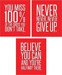 Motivational Inspirational Famous Quotes Teen Boy Girl Sports Wall Art Posters Unframed Decorative Prints Workout Fitness Wall Decor Home Office Business (8 x 10 Red)