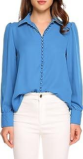 Zeagoo Women's V Neck Long Sleeve Button Down Shirt Casual Work Ofiice Chiffon Blouse Shirt Tops