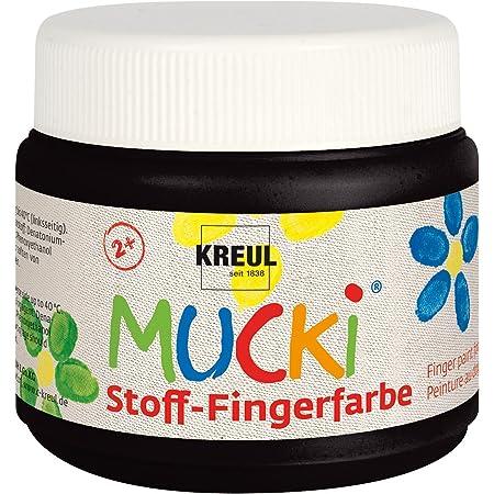 Kreul 28106 - Mucki leuchtkräftige Stoff - Fingerfarbe, 150 ml in schwarz, auf Wasserbasis, parabenfrei, glutenfrei, laktosefrei und vegan, optimal für die Anwendung mit Fingern und Händen