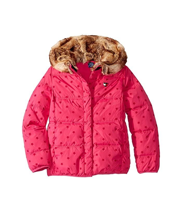 Tommy Hilfiger Adaptive  Puffer Jacket with Magnetic Buttons (Little Kids/Big Kids) (Pink Popsicle/Multi) Womens Clothing