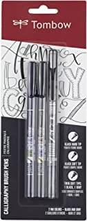 Tombow 62039 Fudenosuke Brush Pens, 3-Pack. Soft, Hard, and Twin Tip Markers for Calligraphy and Art Drawings