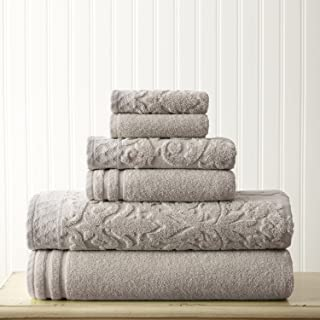 Amrapur Overseas 6-Piece Damask Jacquard/Solid Ultra Soft 550GSM 100% Combed Cotton Towel Set with Embellished Borders [Gray]