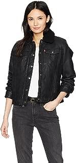 Women's Classic Sherpa Lined Faux Leather Trucker Jacket