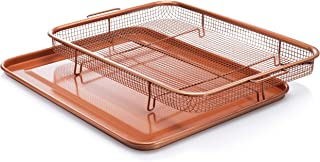 Gotham Steel, 2 Piece Nonstick Copper Crisper Tray and Basket, Air Fry in your Oven, for Baking and Crispy Foods, As Seen ...