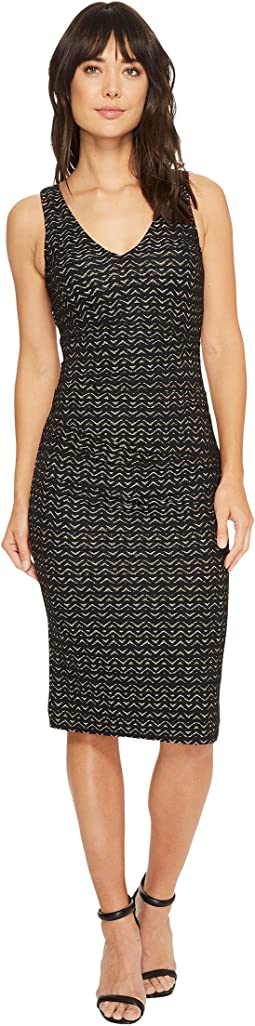 Nicole Miller - Lurex Zigzag Wren Hip Tuck Dress