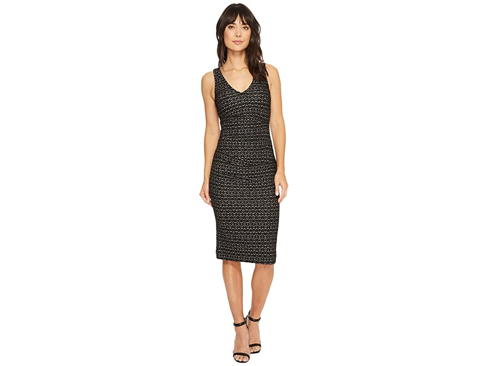 Nicole Miller Lurex Zigzag Wren Hip Tuck Dress (Black/Gold) Women