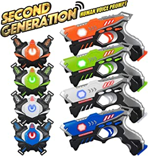 Laser Tag Guns Sets 4 Pack for Kids Adults Infrared Laser Tag Toy with Vest and Gun Indoor Outdoor Group Activity Laser Battle Blaster Gun| Best gift for kids Age 6 7 8 9 10 11 12+ Boy Girl 4 Players