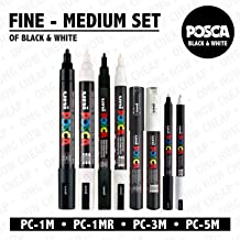 POSCA Black & White - Fine to Medium Set of 8 Pens (PC-5M, PC-3M, PC-1M, PC-1MR)