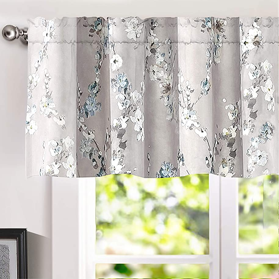 DriftAway Mackenzie Abstract Floral Pattern Window Treatment Valance, Rod Pocket (Blue/Gray, 50