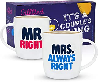 Gifffted Mr Right and Mrs Always Right, Coffee Mugs For Couple, Funny Anniversary Gifts and Engagement Gifts For Couples, Gift For Parents, Christmas Gifts, Valentines Day, Cups, Set of 2