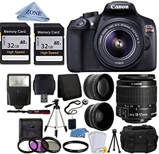 Canon EOS Rebel T6 Digital SLR Camera with 18-55mm EF-S f/3.5-5.6 is II Lens + 58mm Wide Angle Lens + 2X Telephoto Lens + ...